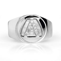 letter silver ring zirconia set